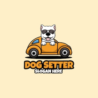 Собака сеттер creative concep cartoon pet дизайн логотипа