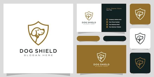Dog shield hipster vintage logo and business card