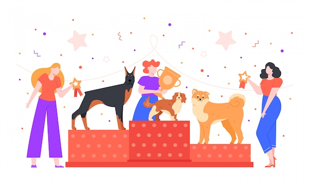 Dog show award. female owner holding trophy golden goblet, dogs winning prize on pet show, dogs exhibition and pedestal rewarding colorful  illustration. pet owners competition concept