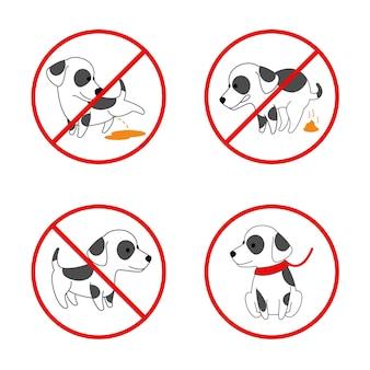 Segni di cane. niente cane, niente cane che piscia, niente cane che fa la cacca. insieme di segni vietati per animali. illustrazione