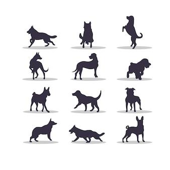 犬のシルエットベクトルイラストデザイン