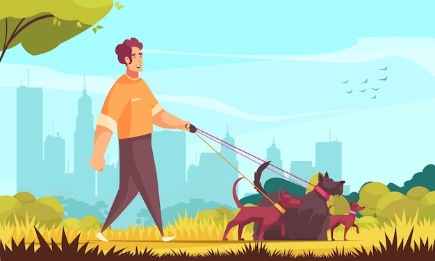 Dog sitter composition with outdoor landscape and doodle male character walking three dogs with cityscape