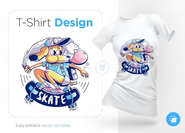 ガムのイラストと t シャツのデザインを持つ犬のスケーター