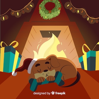 Dog sleeping by the fireplace christmas illustration
