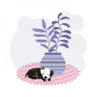 Dog sleeping concept illustration