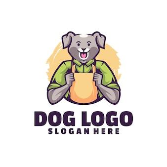 白で隔離される犬の笑顔のロゴ