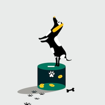 Cane in piedi sulla scatola di donazione