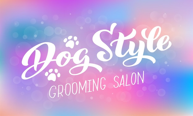 Dog style lettering for grooming salon logo for dog hair salon dog styling and grooming shop