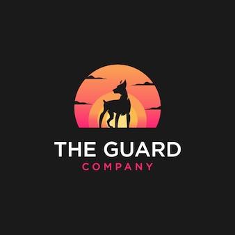 Dog sunset logo illustration