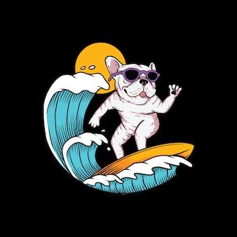Dog surfing mascot