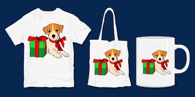 犬のtシャツ。かわいい面白い子犬のクリスマス漫画のtシャツと商品のデザイン