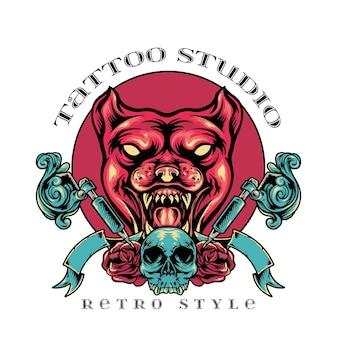 犬のタトゥースタジオのレトロなスタイル