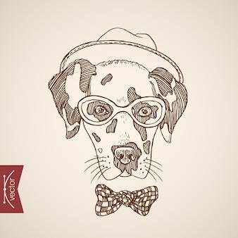 Собака терьер голова хипстерский стиль человека как аксессуар одежды носить очки шарф шляпа точки галстук.