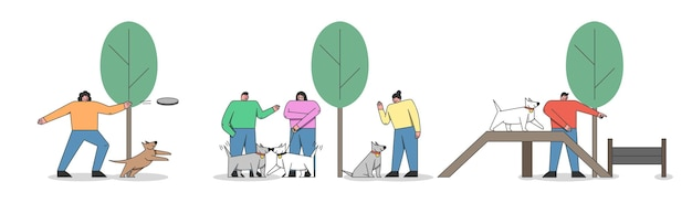 Dog training concept. happy people are training dogs in the city park or area. dog playground in the park. man and woman walk with dog in public park. cartoon linear outline flat vector illustration
