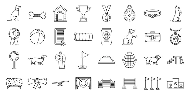 Dog training course icons set