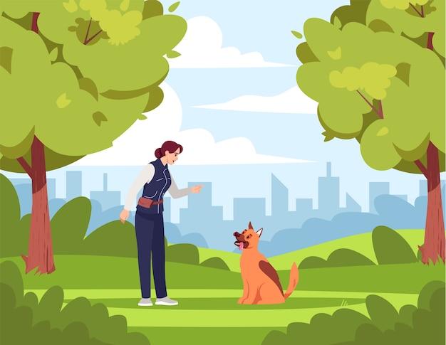 犬の訓練の半図。女性は商業使用のためのいたずらな犬の漫画のキャラクターを教えています。公園エリア。犬の訓練のスペシャリスト。緑の明るい環境、いい天気。 Premiumベクター