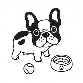 Dog vector french bulldog ball toy food bowl