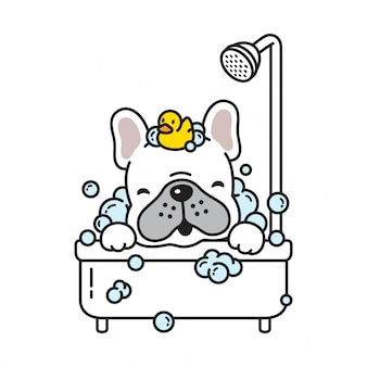 Dog vector french bulldog bath shower rubber duck cartoon