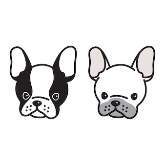 Dog vector french bulldog face cartoon