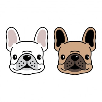 Dog vector french bulldog head cartoon
