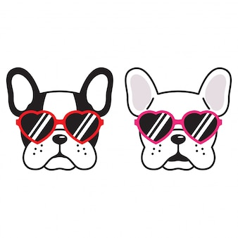 Dog vector french bulldog heart sunglasses puppy cartoon