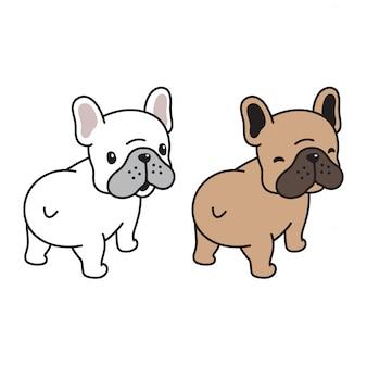 犬ベクトルフレンチブルドッグ子犬笑顔漫画