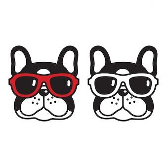 Собака вектор французский бульдог солнцезащитные очки щенок мультфильм