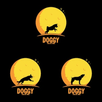 Dog vector silhouette in the moon