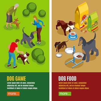 Dog vertical isometric banners