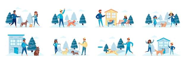 Выгул собак набор сцен с персонажами людей