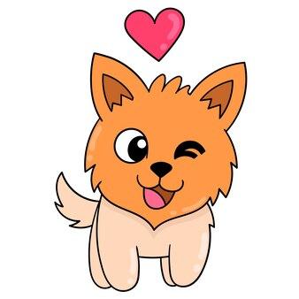 Собака гуляет счастливой в любви, векторные иллюстрации искусства. каракули изображение значка каваи.
