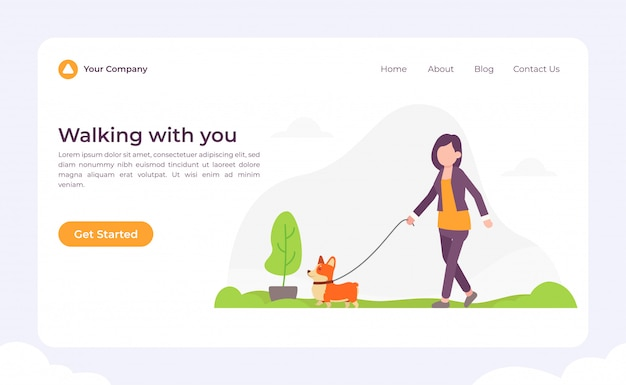 Dog walking with you landing page