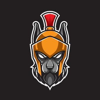 Логотип талисмана воина собаки