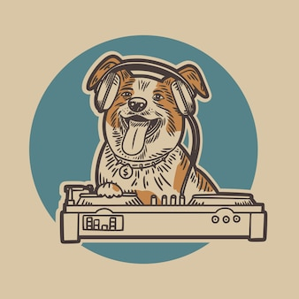 The dog wearing a headset and is playing a pioneer dj with a blue circle background vintage illustration
