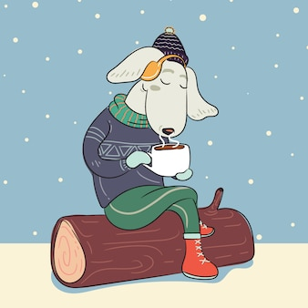 Dog in winter warm sweater and with cup of hot coffee