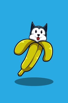 Собака с бананом иллюстрации шаржа