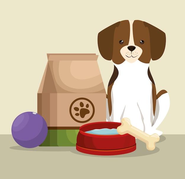 뼈와 음식 가방 애완 동물 친절한 개