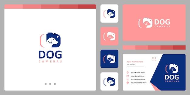 Dog with camera logo. business card design template.