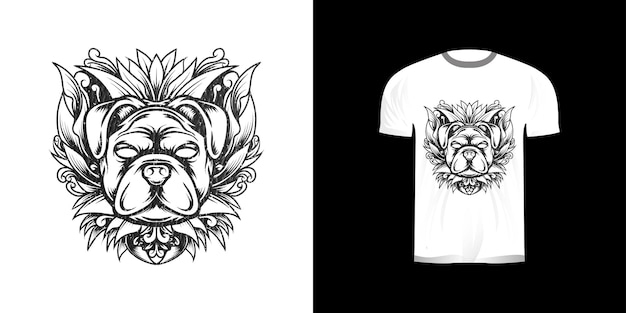 Dog with engraving ornament for tshirt design