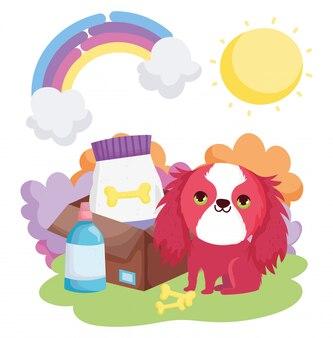 食べ物の骨自然風景ペットと犬