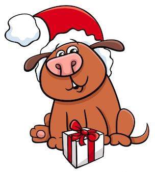 クリスマスプレゼントの犬