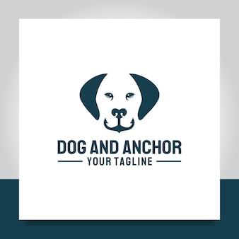 Dog with nose anchor logo design for defense marine