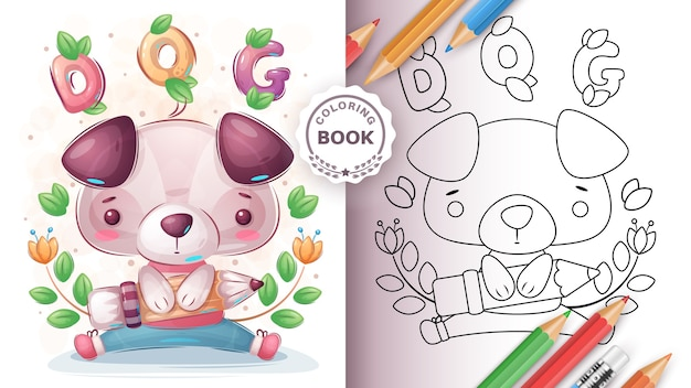 Dog with pencil - coloring book for kid and children