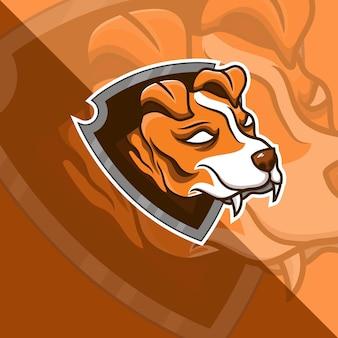 Dog with shield mascot esport logo design logo template and tshirt team