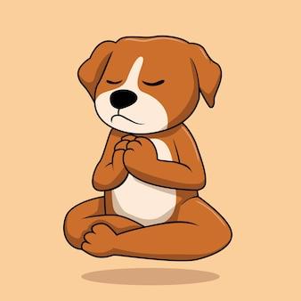 베이지 색에 고립 된 개 요가 동물 만화