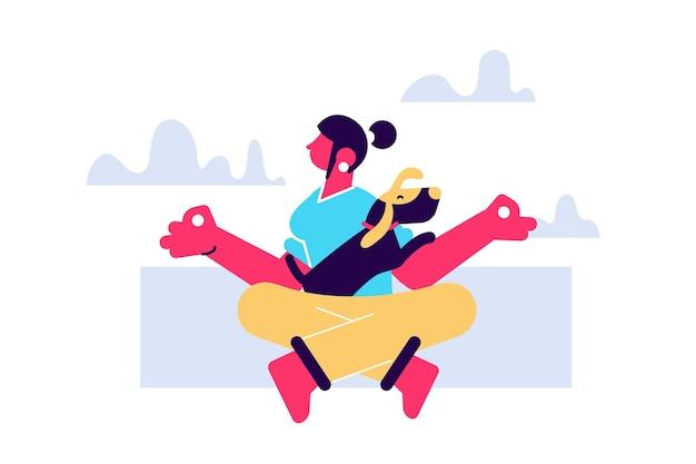 Doga 현대 애완견과 함께 운동으로 요가의 연습