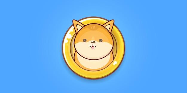 Dogecoin баннер с мультфильмом милая забавная собака акита ину