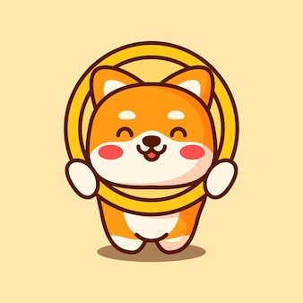 Dogecoin cryptocurrency icon set of head and tail coin digital currency character shiba inu dog o