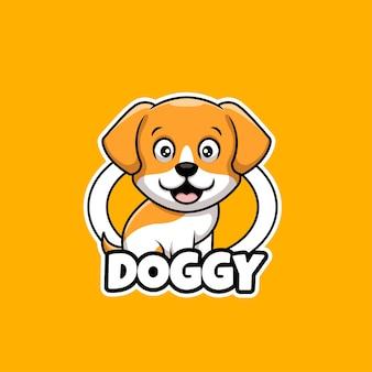 강아지 귀여운 애완 동물 관리가 게 만화 크리에이 티브 로고 디자인