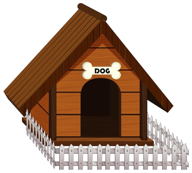 Собачья будка из дерева с белым забором